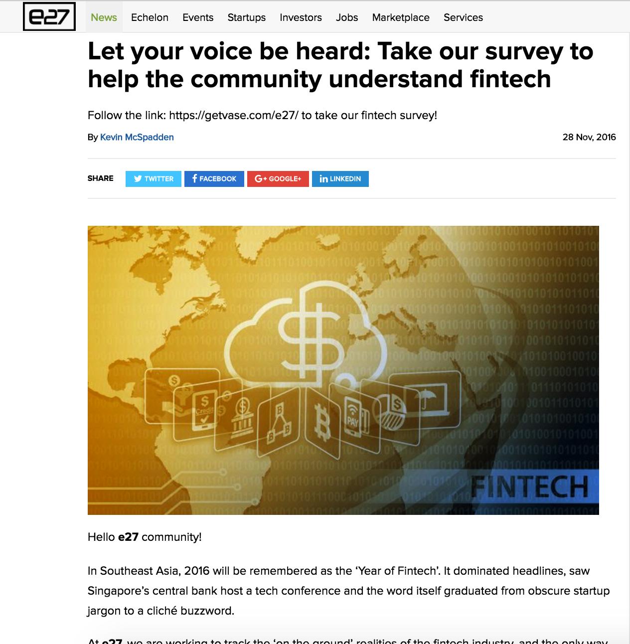 e27 Fintech Survey